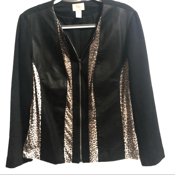 4eddec71735f Chico's Jackets & Coats   Chicos Faux Leather Leopard Trip Fitted ...